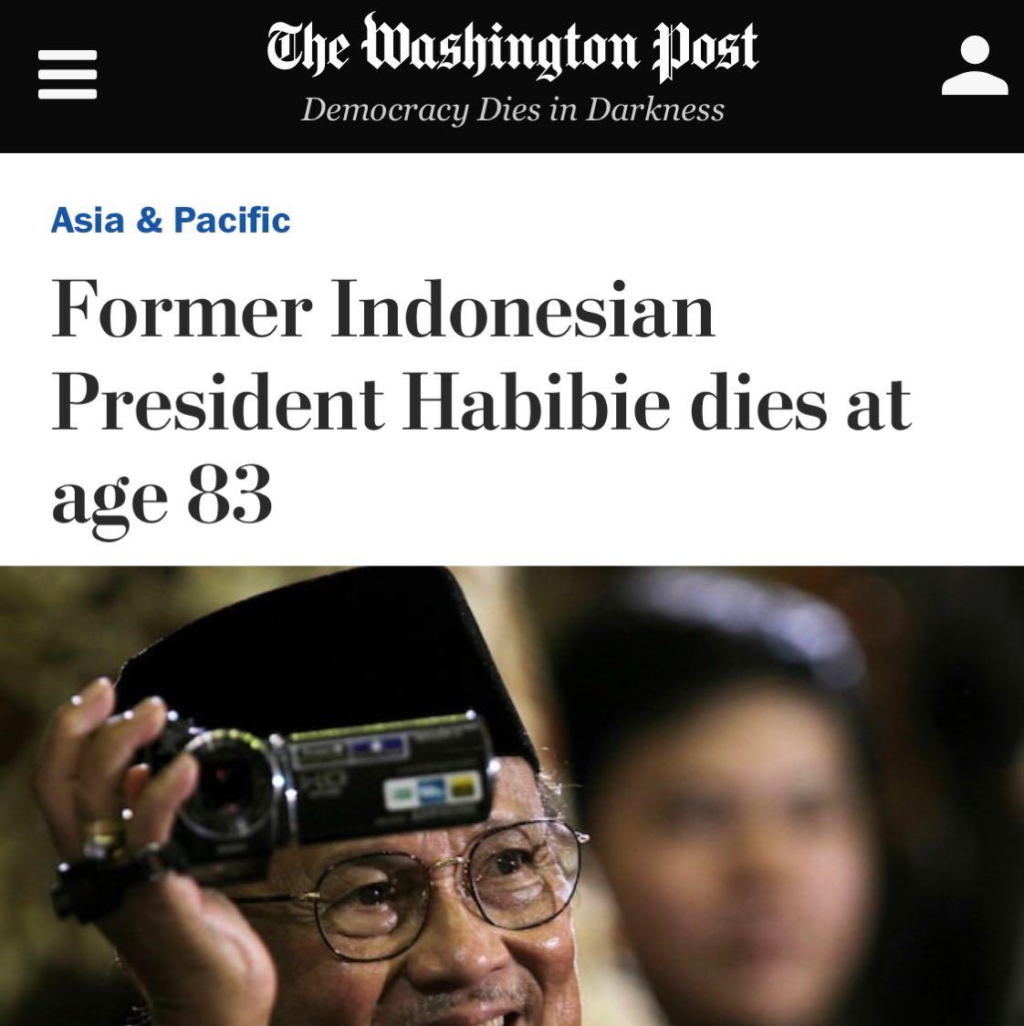 Berita berpulangnya BJ Habibie di situs The Washington Post